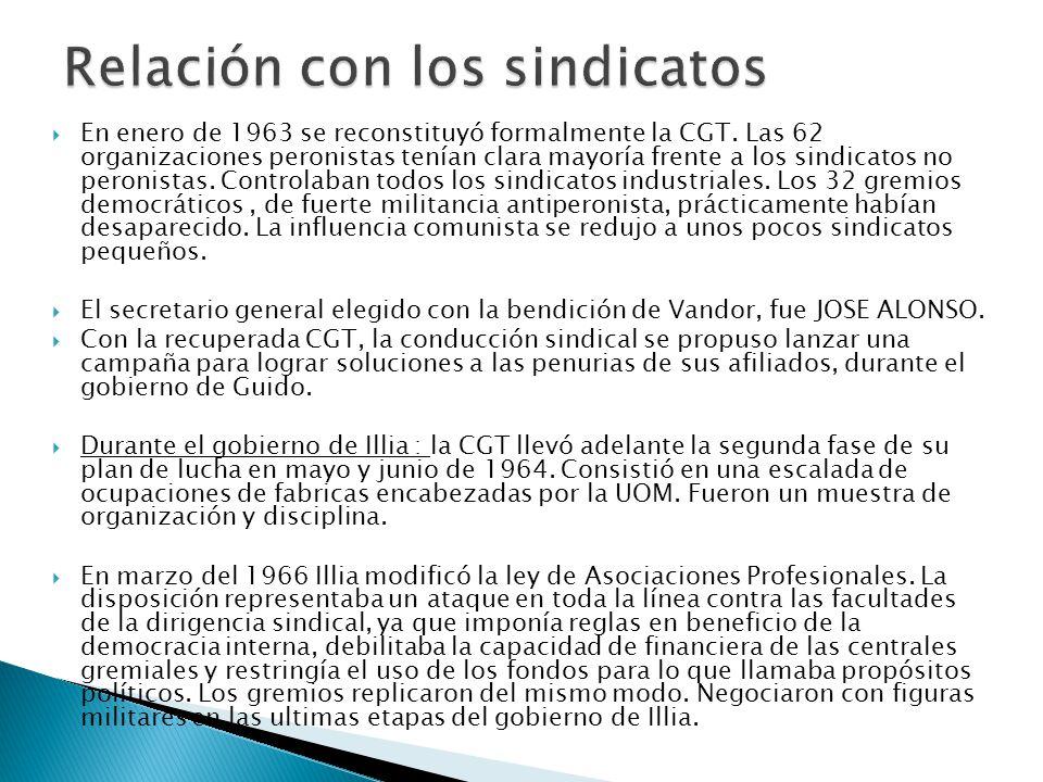 En enero de 1963 se reconstituyó formalmente la CGT.