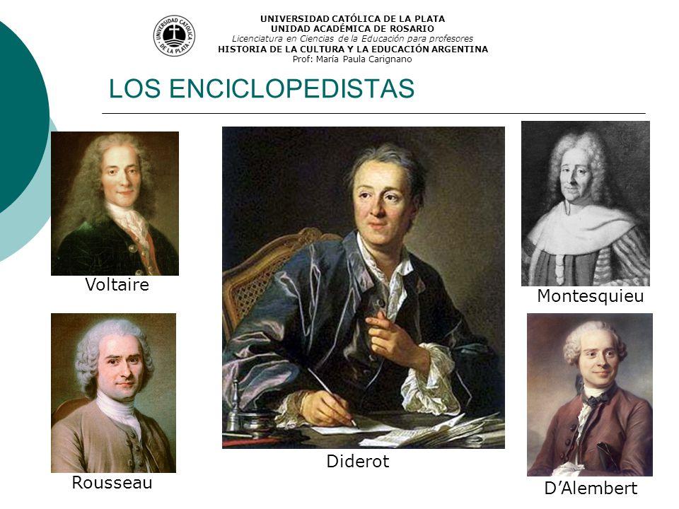 LOS ENCICLOPEDISTAS Voltaire Rousseau Montesquieu Diderot DAlembert UNIVERSIDAD CATÓLICA DE LA PLATA UNIDAD ACADÉMICA DE ROSARIO Licenciatura en Cienc