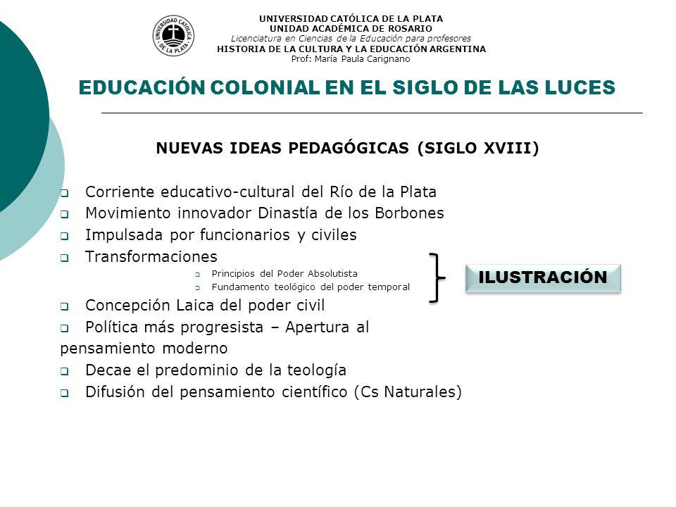 EDUCACIÓN COLONIAL EN EL SIGLO DE LAS LUCES NUEVAS IDEAS PEDAGÓGICAS (SIGLO XVIII) Corriente educativo-cultural del Río de la Plata Movimiento innovad