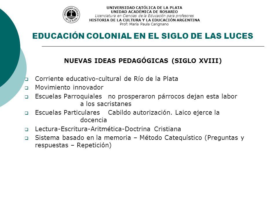 NUEVAS IDEAS PEDAGÓGICAS (SIGLO XVIII) Corriente educativo-cultural de Río de la Plata Movimiento innovador Escuelas Parroquiales no prosperaron párro