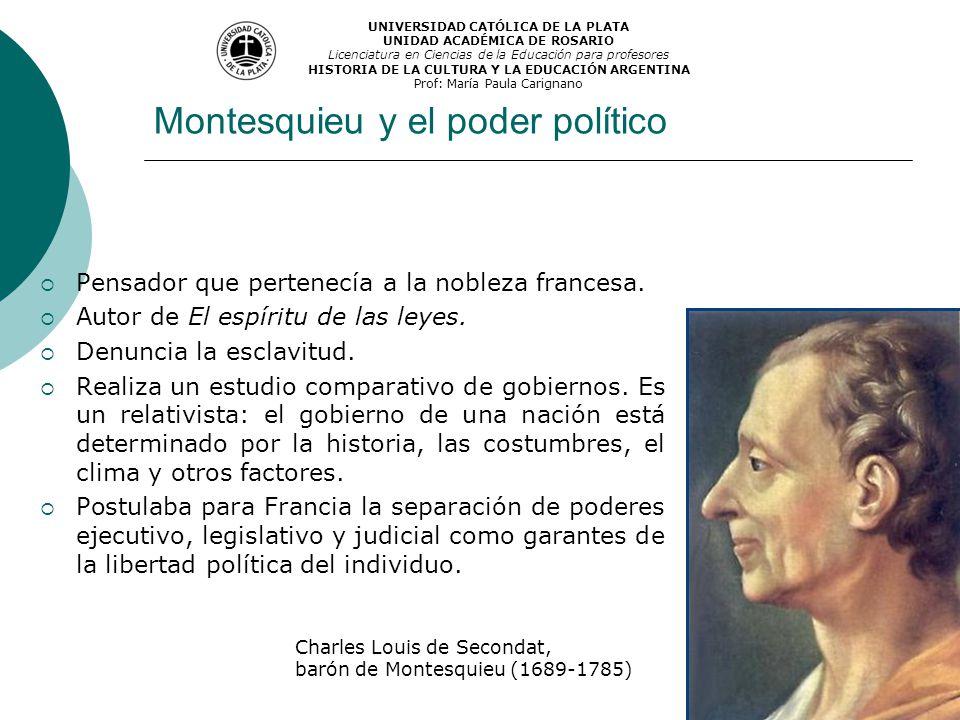 Montesquieu y el poder político Pensador que pertenecía a la nobleza francesa. Autor de El espíritu de las leyes. Denuncia la esclavitud. Realiza un e