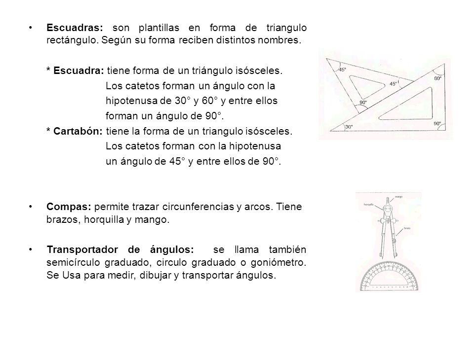Escuadras: son plantillas en forma de triangulo rectángulo.