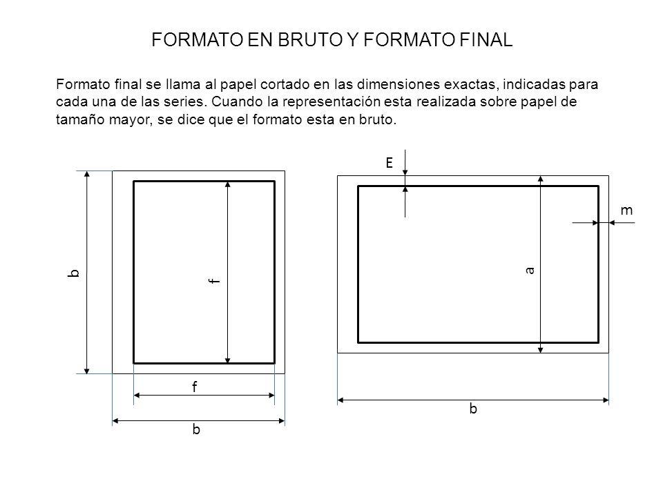 FORMATO EN BRUTO Y FORMATO FINAL Formato final se llama al papel cortado en las dimensiones exactas, indicadas para cada una de las series.