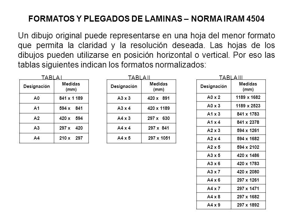 FORMATOS Y PLEGADOS DE LAMINAS – NORMA IRAM 4504 Un dibujo original puede representarse en una hoja del menor formato que permita la claridad y la resolución deseada.