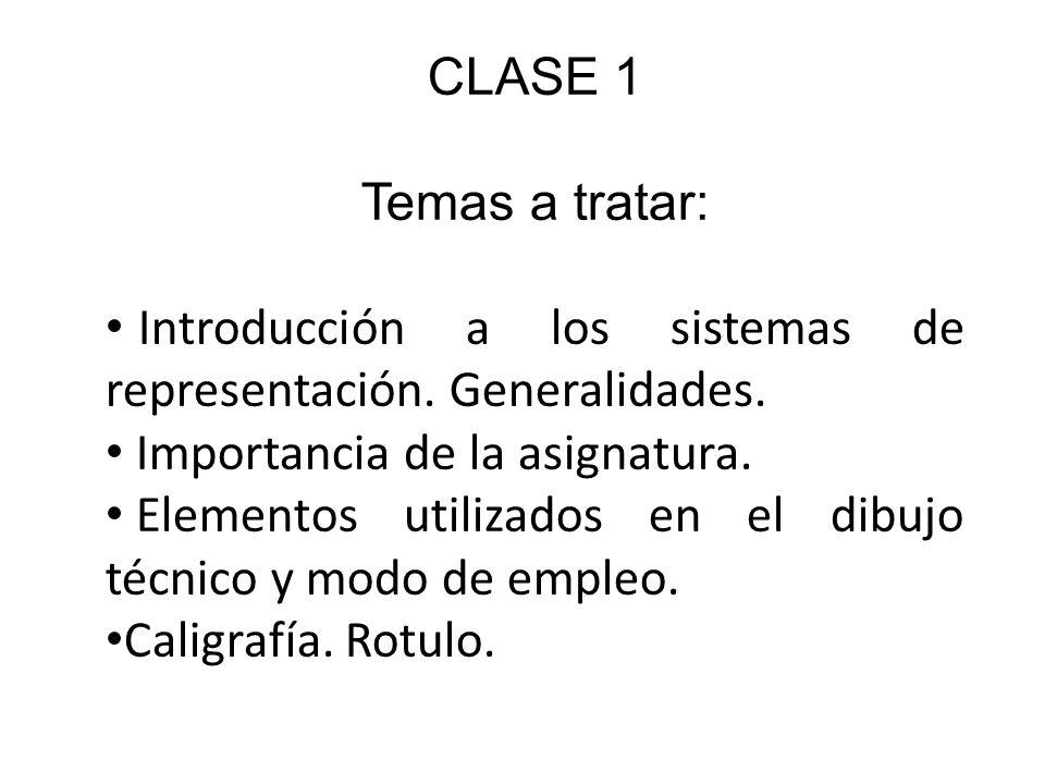 CLASE 1 Temas a tratar: Introducción a los sistemas de representación.