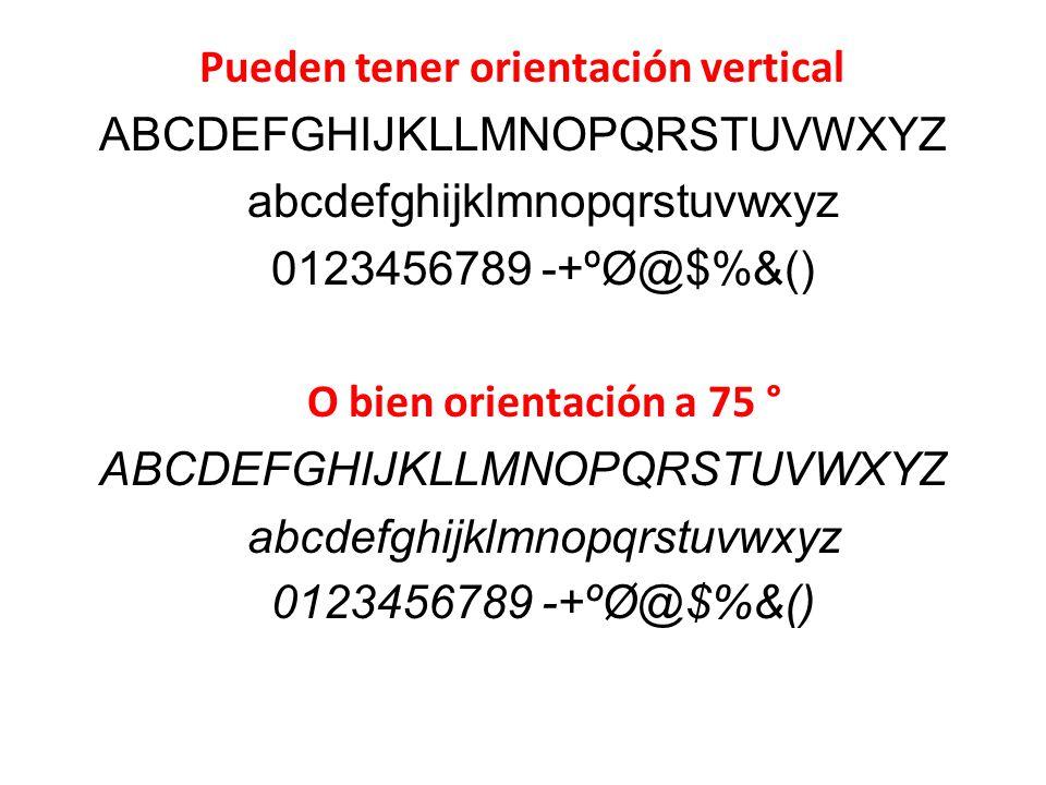 Pueden tener orientación vertical ABCDEFGHIJKLLMNOPQRSTUVWXYZ abcdefghijklmnopqrstuvwxyz 0123456789 -+ºØ@$%&() O bien orientación a 75 ° ABCDEFGHIJKLLMNOPQRSTUVWXYZ abcdefghijklmnopqrstuvwxyz 0123456789 -+ºØ@$%&()