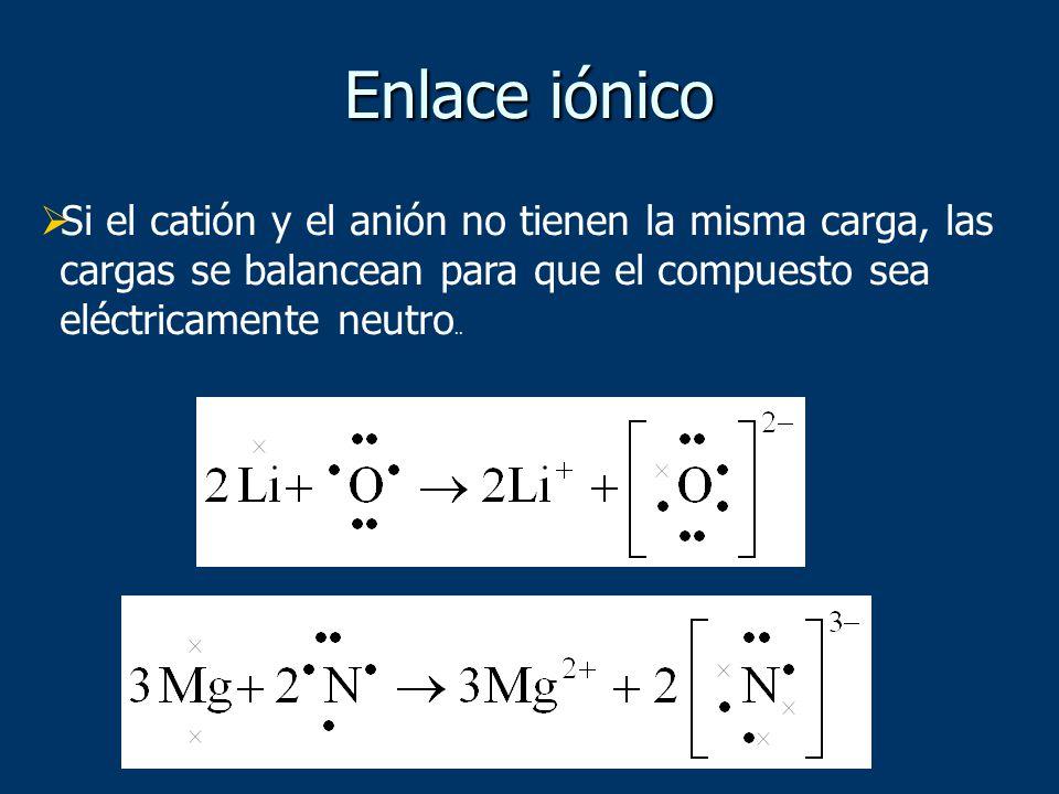 Si el catión y el anión no tienen la misma carga, las cargas se balancean para que el compuesto sea eléctricamente neutro.. Enlace iónico