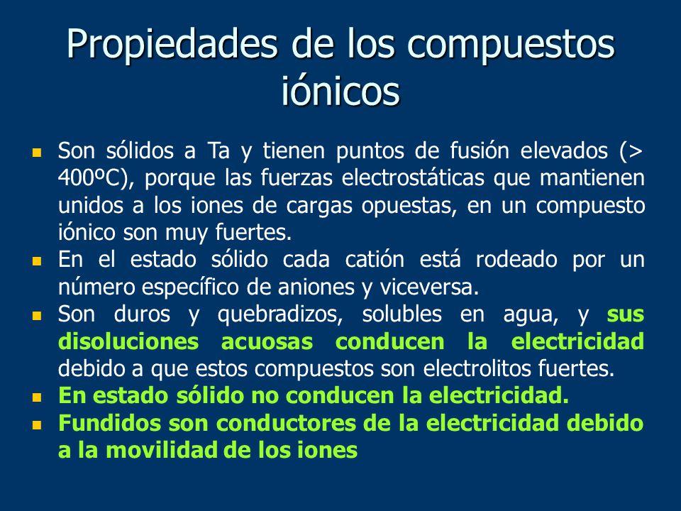 Propiedades de los compuestos iónicos Son sólidos a Ta y tienen puntos de fusión elevados (> 400ºC), porque las fuerzas electrostáticas que mantienen unidos a los iones de cargas opuestas, en un compuesto iónico son muy fuertes.