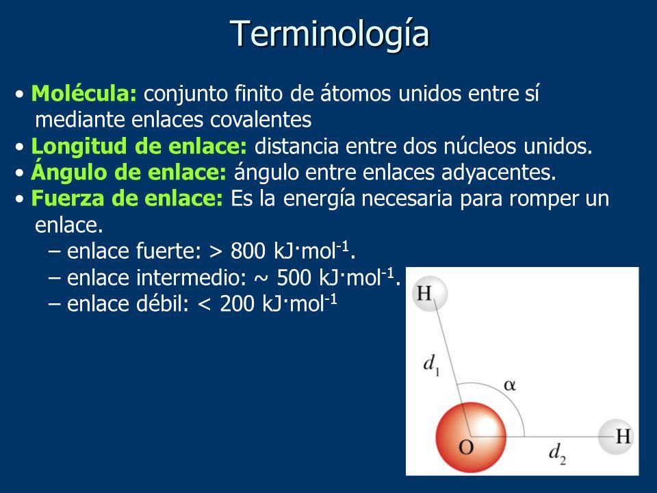 Terminología Molécula: conjunto finito de átomos unidos entre sí mediante enlaces covalentes Longitud de enlace: distancia entre dos núcleos unidos. Á