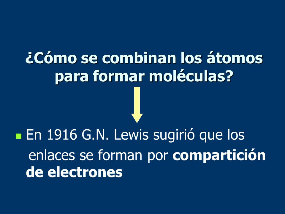 ¿Cómo se combinan los átomos para formar moléculas? En 1916 G.N. Lewis sugirió que los enlaces se forman por compartición de electrones