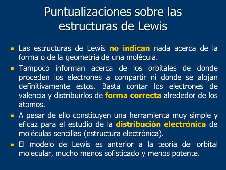 Puntualizaciones sobre las estructuras de Lewis Las estructuras de Lewis no indican nada acerca de la forma o de la geometría de una molécula. Tampoco