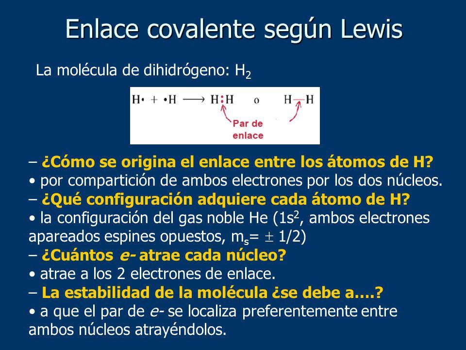 Enlace covalente según Lewis – ¿Cómo se origina el enlace entre los átomos de H? por compartición de ambos electrones por los dos núcleos. – ¿Qué conf