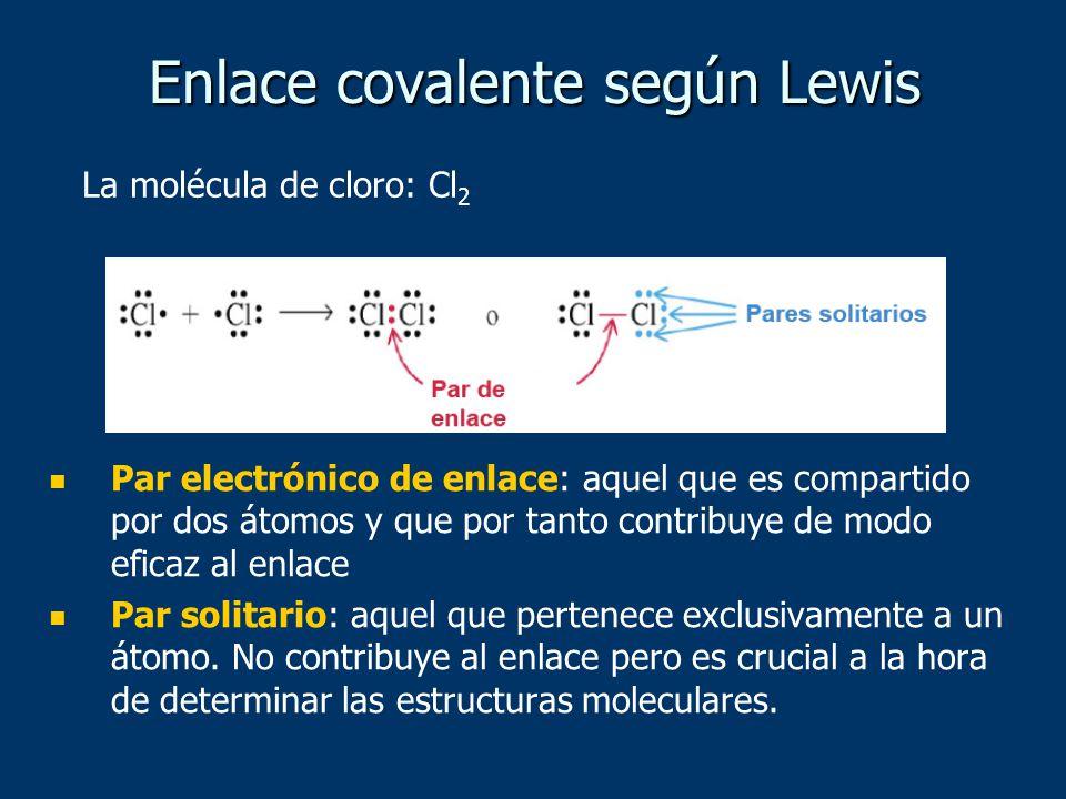 Par electrónico de enlace: aquel que es compartido por dos átomos y que por tanto contribuye de modo eficaz al enlace Par solitario: aquel que pertenece exclusivamente a un átomo.