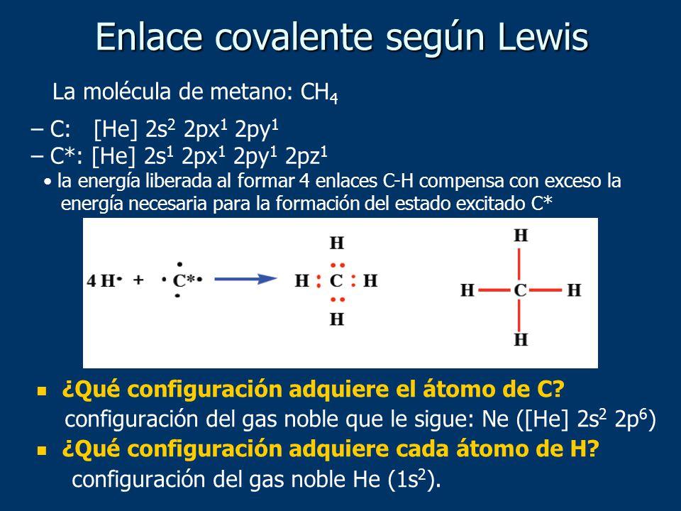 ¿Qué configuración adquiere el átomo de C? configuración del gas noble que le sigue: Ne ([He] 2s 2 2p 6 ) ¿Qué configuración adquiere cada átomo de H?