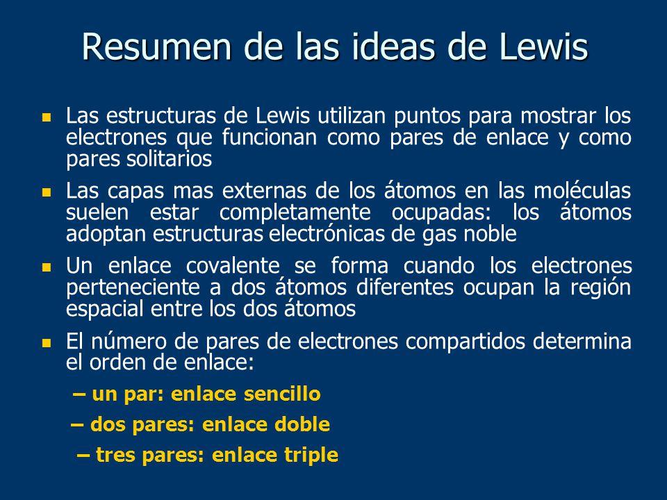 Las estructuras de Lewis utilizan puntos para mostrar los electrones que funcionan como pares de enlace y como pares solitarios Las capas mas externas