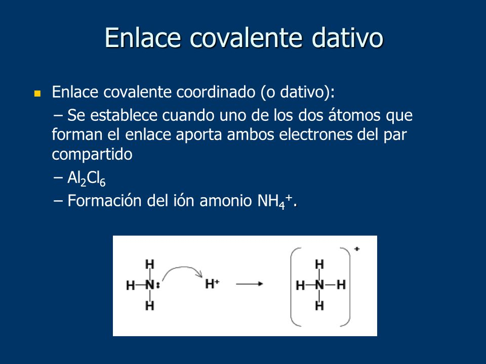Enlace covalente coordinado (o dativo): – Se establece cuando uno de los dos átomos que forman el enlace aporta ambos electrones del par compartido –