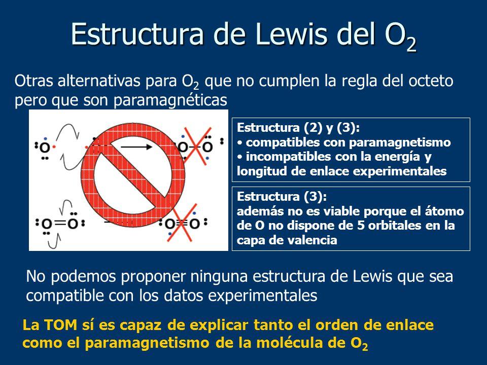 No podemos proponer ninguna estructura de Lewis que sea compatible con los datos experimentales Estructura de Lewis del O 2 Otras alternativas para O 2 que no cumplen la regla del octeto pero que son paramagnéticas Estructura (2) y (3): compatibles con paramagnetismo incompatibles con la energía y longitud de enlace experimentales Estructura (3): además no es viable porque el átomo de O no dispone de 5 orbitales en la capa de valencia La TOM sí es capaz de explicar tanto el orden de enlace como el paramagnetismo de la molécula de O 2