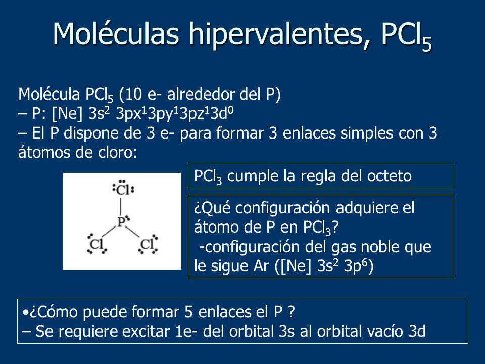 Molécula PCl 5 (10 e- alrededor del P) – P: [Ne] 3s 2 3px 1 3py 1 3pz 1 3d 0 – El P dispone de 3 e- para formar 3 enlaces simples con 3 átomos de cloro: PCl 3 cumple la regla del octeto ¿Qué configuración adquiere el átomo de P en PCl 3 .