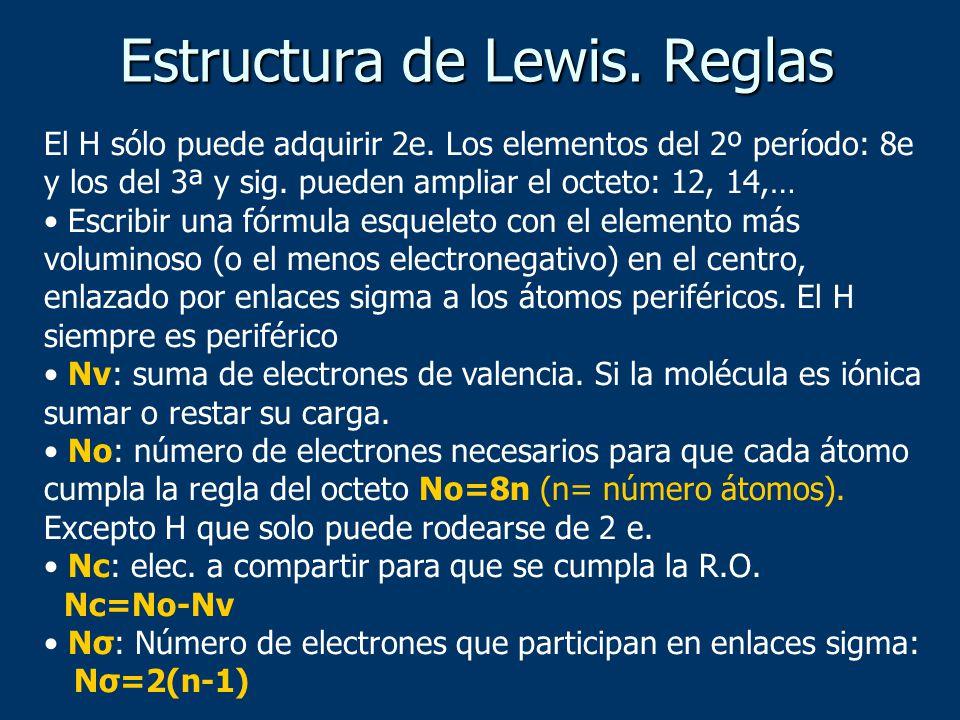 Estructura de Lewis. Reglas El H sólo puede adquirir 2e. Los elementos del 2º período: 8e y los del 3ª y sig. pueden ampliar el octeto: 12, 14,… Escri