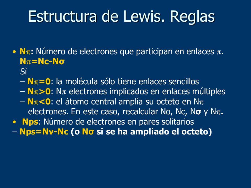 N : Número de electrones que participan en enlaces. N =Nc-Nσ Sí – N =0: la molécula sólo tiene enlaces sencillos – N >0: N electrones implicados en en