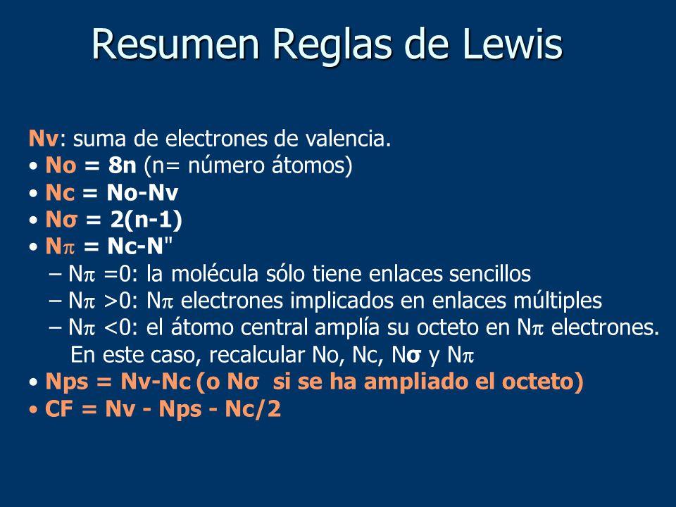 Nv: suma de electrones de valencia. No = 8n (n= número átomos) Nc = No-Nv Nσ = 2(n-1) N = Nc-N