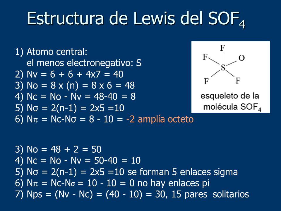 1) Atomo central: el menos electronegativo: S 2) Nv = 6 + 6 + 4x7 = 40 3) No = 8 x (n) = 8 x 6 = 48 4) Nc = No - Nv = 48-40 = 8 5) Nσ = 2(n-1) = 2x5 =10 6) N = Nc-Nσ = 8 - 10 = -2 amplía octeto 3) No = 48 + 2 = 50 4) Nc = No - Nv = 50-40 = 10 5) Nσ = 2(n-1) = 2x5 =10 se forman 5 enlaces sigma 6) N = Nc-N σ = 10 - 10 = 0 no hay enlaces pi 7) Nps = (Nv - Nc) = (40 - 10) = 30, 15 pares solitarios Estructura de Lewis del SOF 4