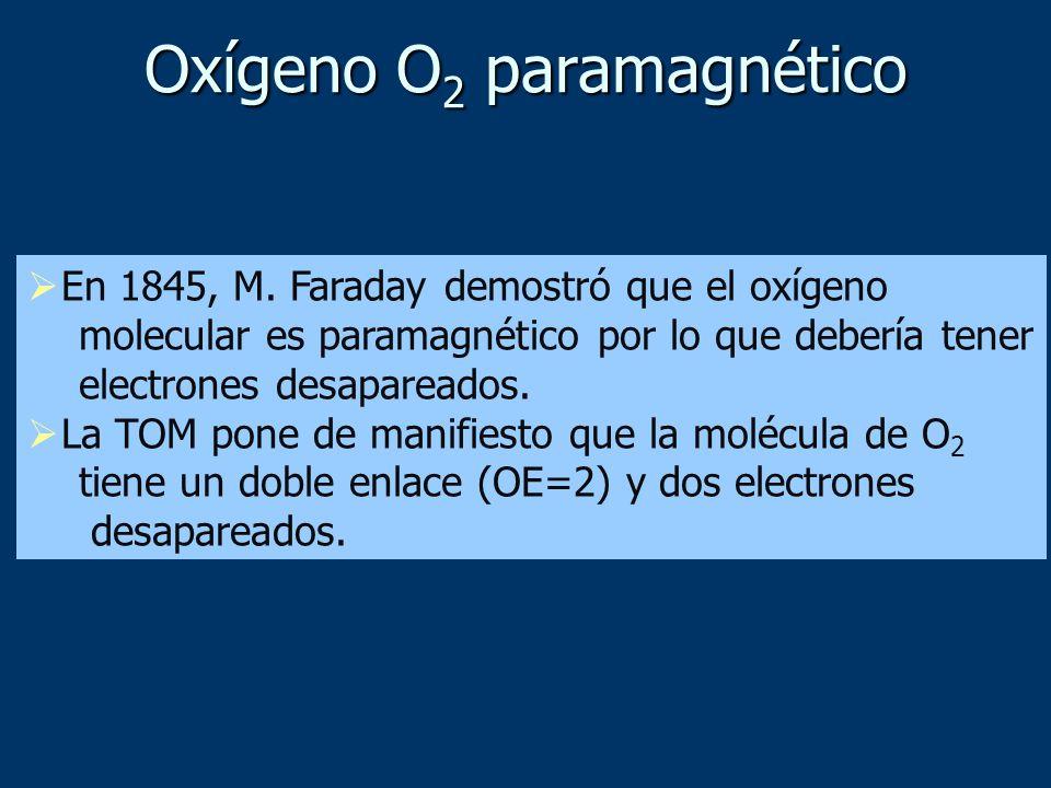 Oxígeno O 2 paramagnético En 1845, M. Faraday demostró que el oxígeno molecular es paramagnético por lo que debería tener electrones desapareados. La