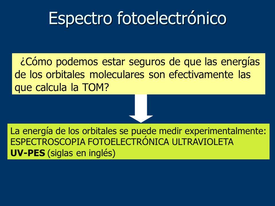 Espectro fotoelectrónico ¿Cómo podemos estar seguros de que las energías de los orbitales moleculares son efectivamente las que calcula la TOM? La ene
