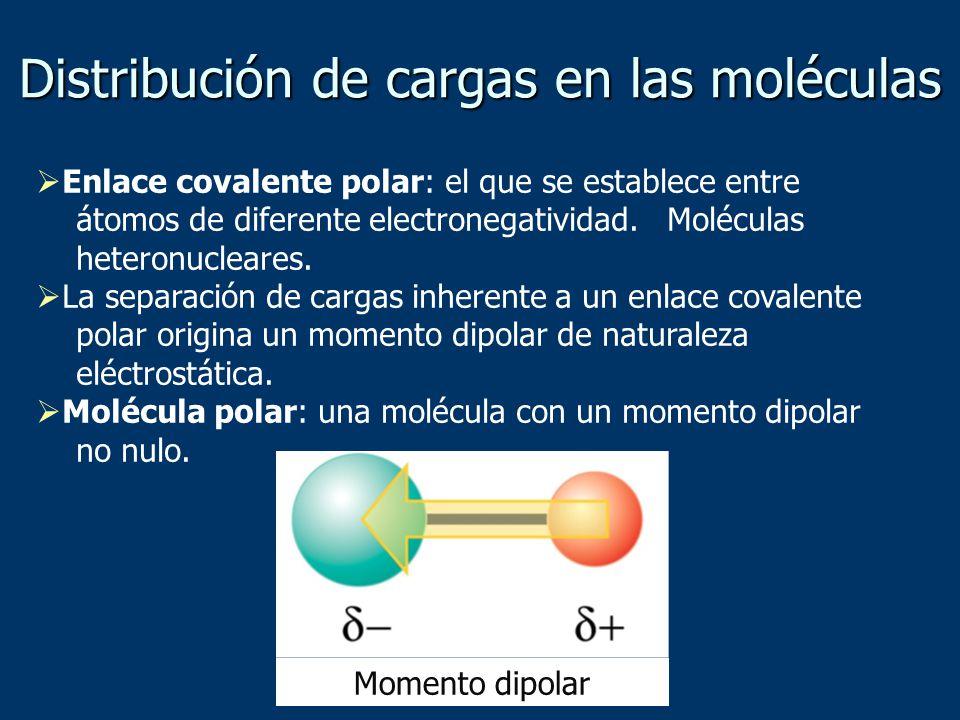 Distribución de cargas en las moléculas Enlace covalente polar: el que se establece entre átomos de diferente electronegatividad.