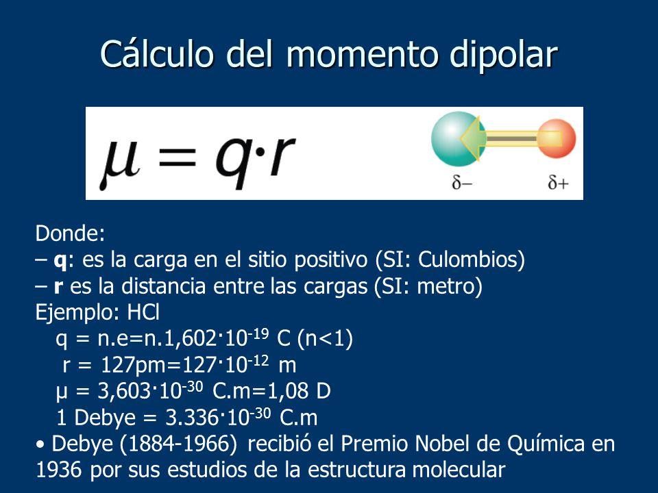 Cálculo del momento dipolar Donde: – q: es la carga en el sitio positivo (SI: Culombios) – r es la distancia entre las cargas (SI: metro) Ejemplo: HCl q = n.e=n.1,602·10 -19 C (n<1) r = 127pm=127·10 -12 m μ = 3,603·10 -30 C.m=1,08 D 1 Debye = 3.336·10 -30 C.m Debye (1884-1966) recibió el Premio Nobel de Química en 1936 por sus estudios de la estructura molecular