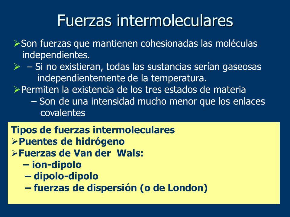 Son fuerzas que mantienen cohesionadas las moléculas independientes.