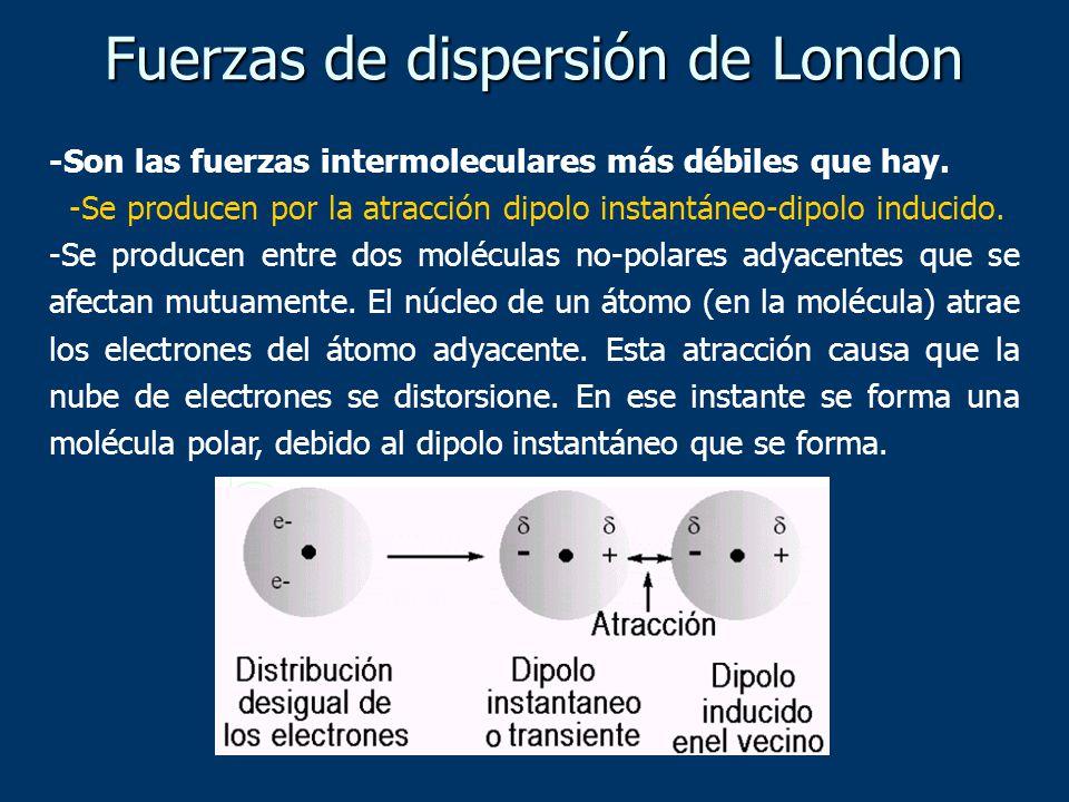 -Son las fuerzas intermoleculares más débiles que hay. -Se producen por la atracción dipolo instantáneo-dipolo inducido. -Se producen entre dos molécu