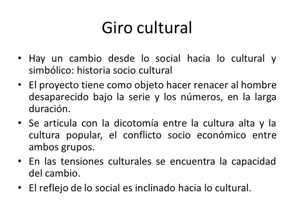 Giro cultural Hay un cambio desde lo social hacia lo cultural y simbólico: historia socio cultural El proyecto tiene como objeto hacer renacer al homb