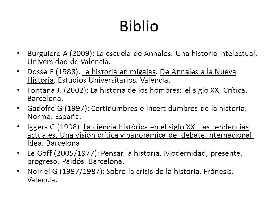 Biblio Burguiere A (2009): La escuela de Annales. Una historia intelectual. Universidad de Valencia. Dosse F (1988). La historia en migajas. De Annale