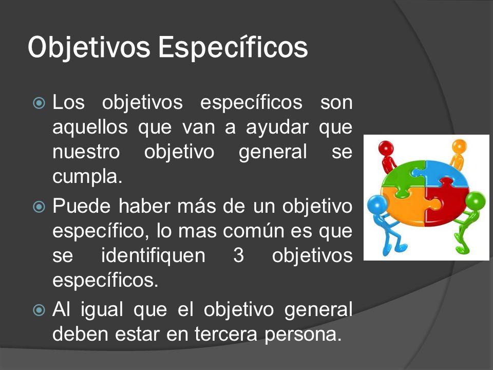 Objetivos Específicos Los objetivos específicos son aquellos que van a ayudar que nuestro objetivo general se cumpla. Puede haber más de un objetivo e