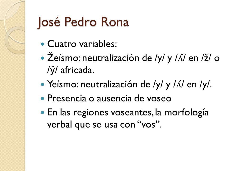 José Pedro Rona Cuatro variables: Žeísmo: neutralización de /y/ y / ʎ / en /ž/ o / ŷ / africada. Yeísmo: neutralización de /y/ y / ʎ / en /y/. Presenc