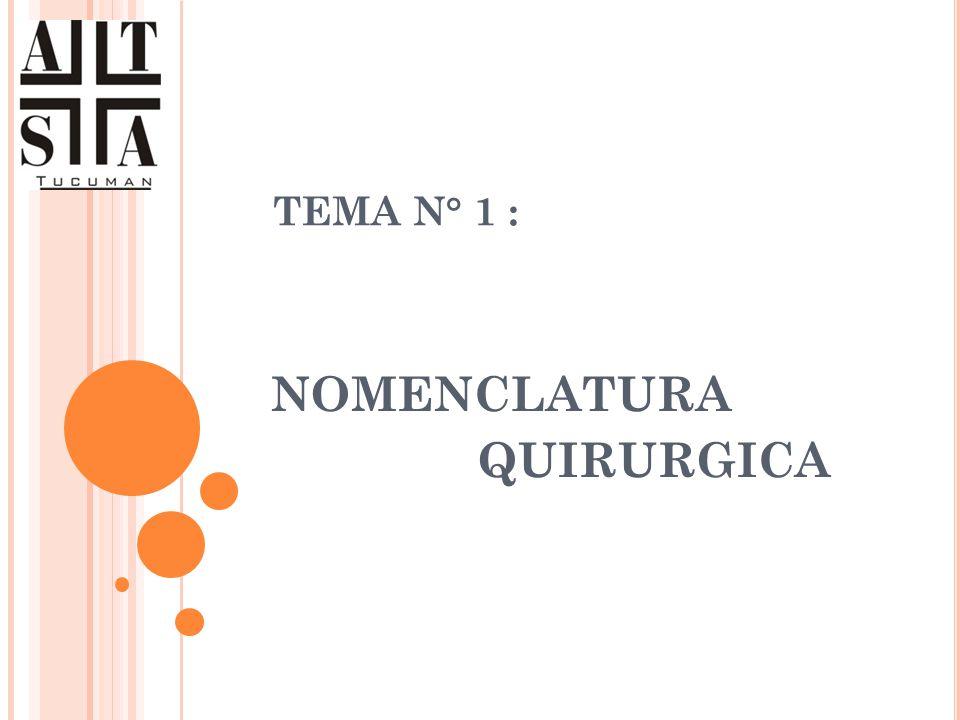 TEMA N° 1 : NOMENCLATURA QUIRURGICA