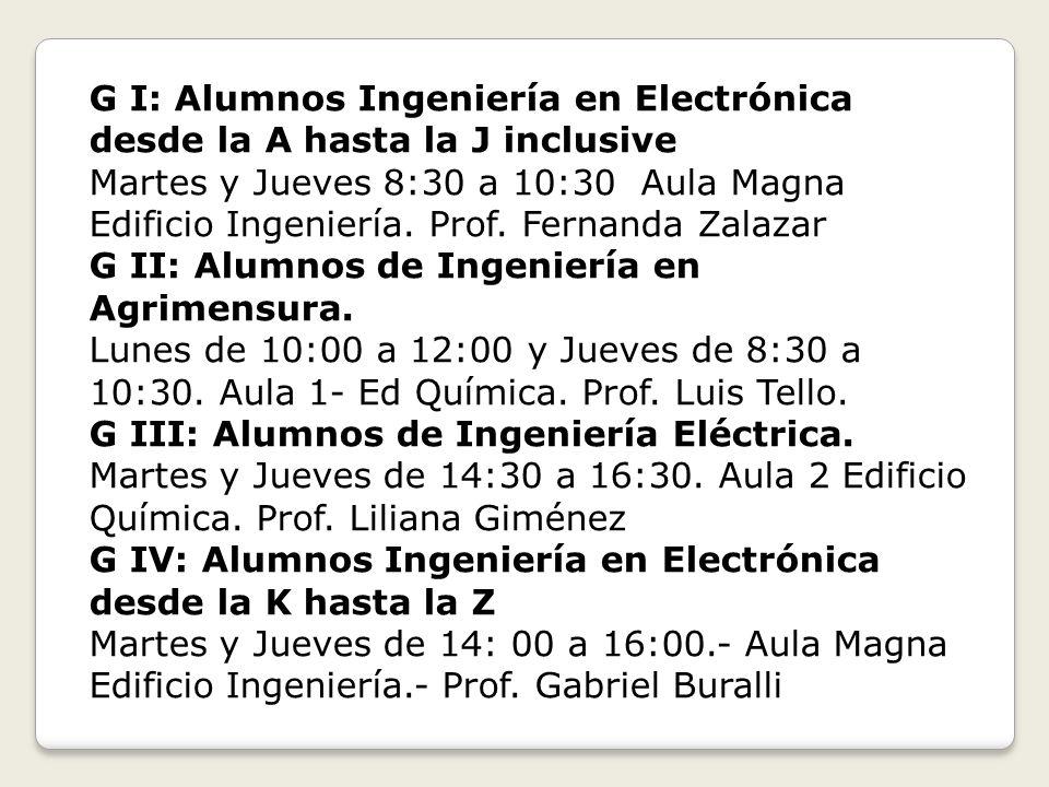 G I: Alumnos Ingeniería en Electrónica desde la A hasta la J inclusive Martes y Jueves 8:30 a 10:30 Aula Magna Edificio Ingeniería. Prof. Fernanda Zal