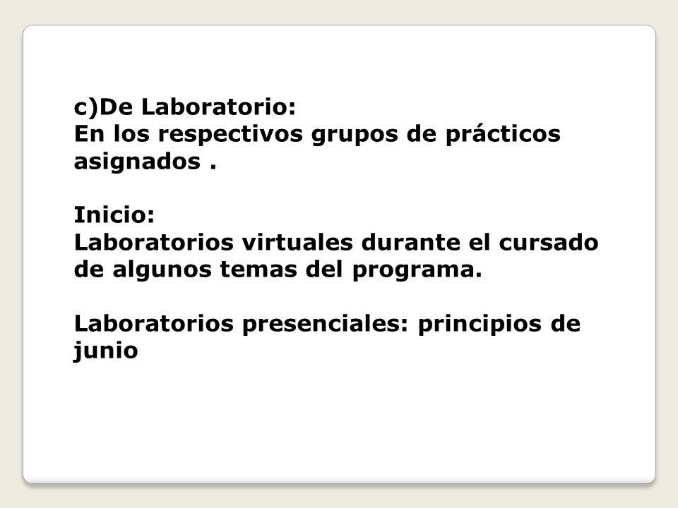 c)De Laboratorio: En los respectivos grupos de prácticos asignados. Inicio: Laboratorios virtuales durante el cursado de algunos temas del programa. L