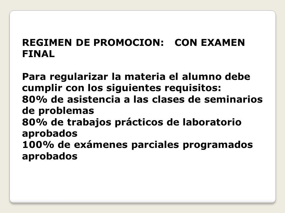 REGIMEN DE PROMOCION: CON EXAMEN FINAL Para regularizar la materia el alumno debe cumplir con los siguientes requisitos: 80% de asistencia a las clase