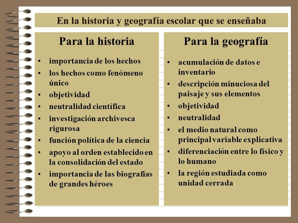 En la historia y geografía escolar que se enseñaba Para la historia.