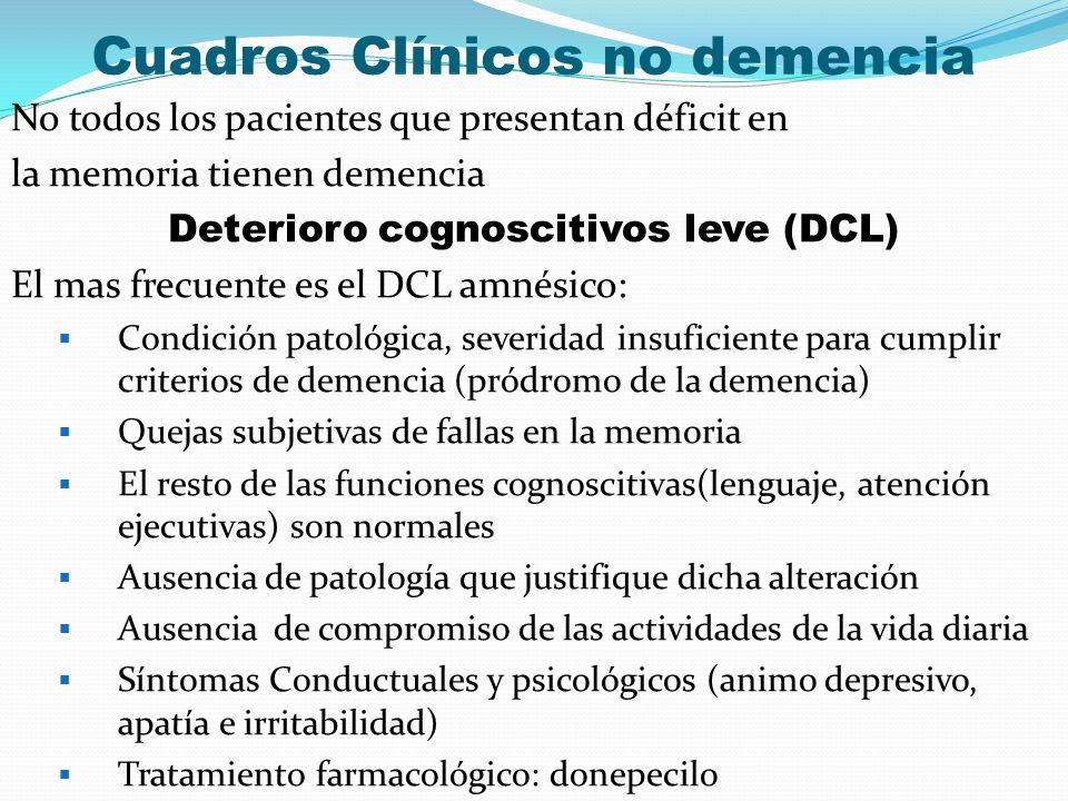 Cuadros Clínicos no demencia No todos los pacientes que presentan déficit en la memoria tienen demencia Deterioro cognoscitivos leve (DCL) El mas frec
