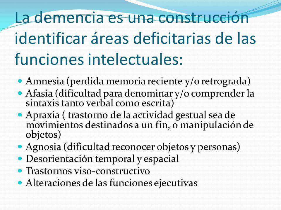 La demencia es una construcción identificar áreas deficitarias de las funciones intelectuales: Amnesia (perdida memoria reciente y/o retrograda) Afasi