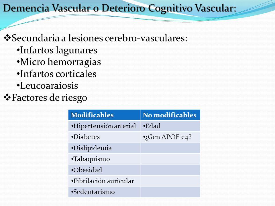 Demencia Vascular o Deterioro Cognitivo Vascular: Secundaria a lesiones cerebro-vasculares: Infartos lagunares Micro hemorragias Infartos corticales L