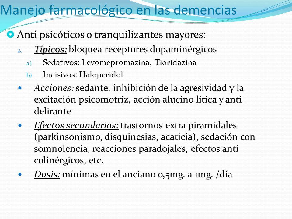 Manejo farmacológico en las demencias Anti psicóticos o tranquilizantes mayores: 1. Típicos: 1. Típicos: bloquea receptores dopaminérgicos a) Sedativo
