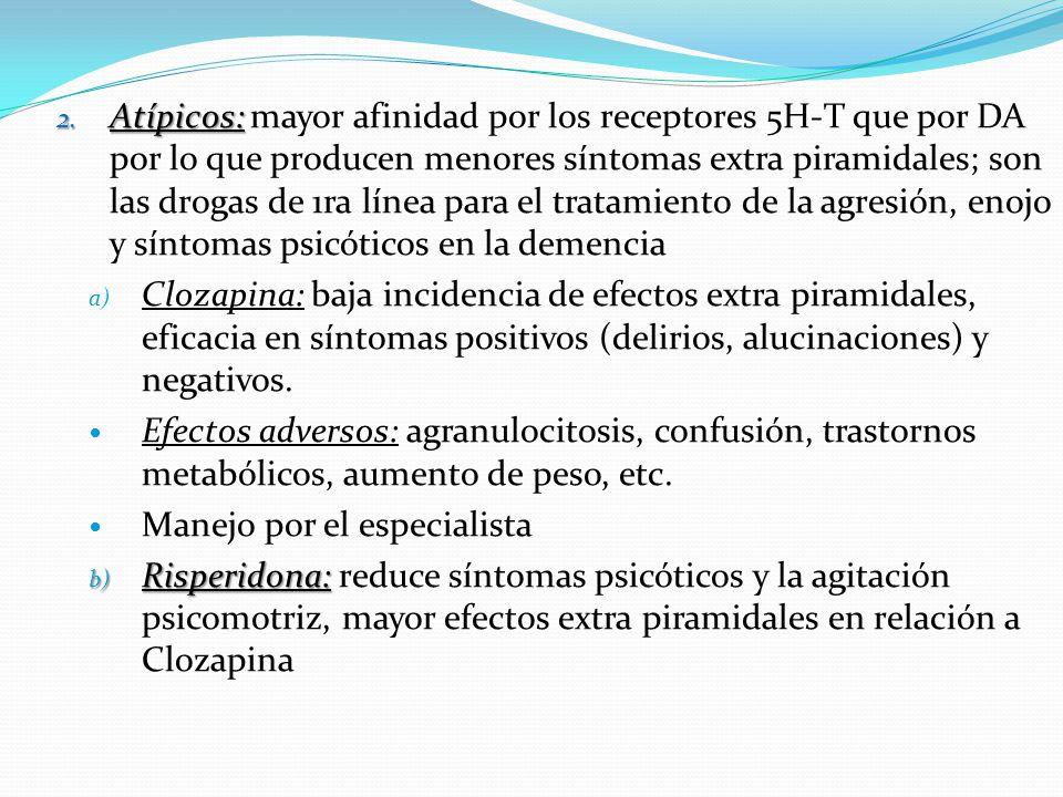 2. Atípicos: 2. Atípicos: mayor afinidad por los receptores 5H-T que por DA por lo que producen menores síntomas extra piramidales; son las drogas de