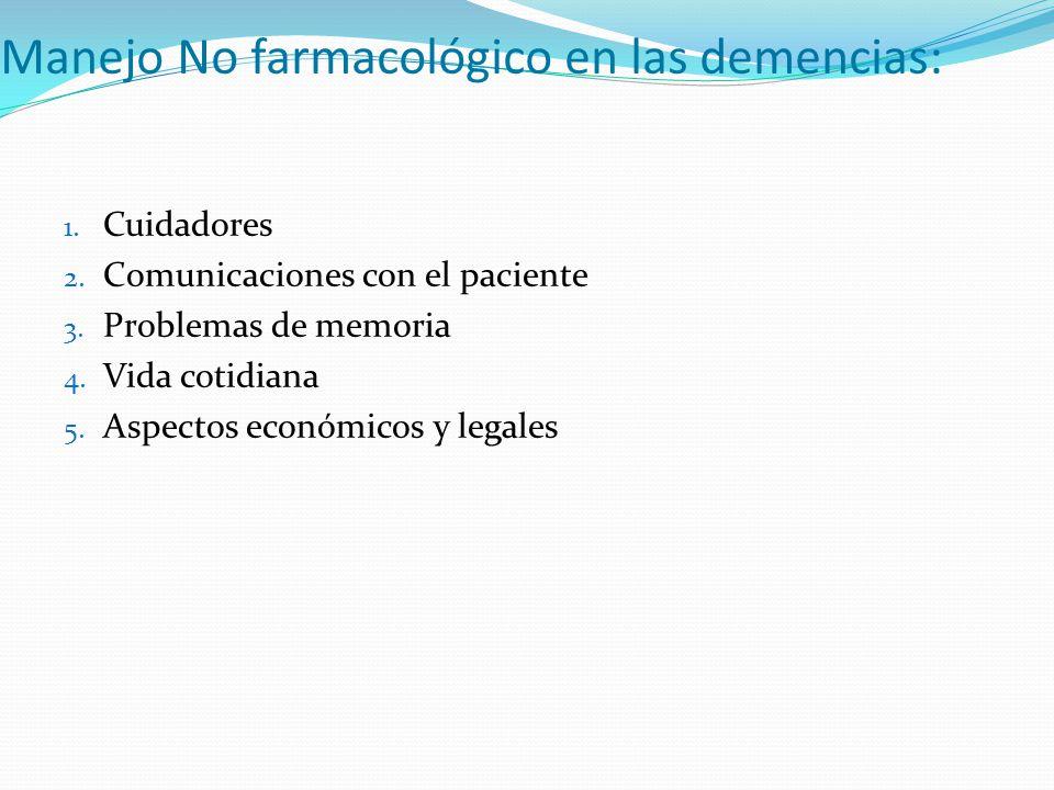 Manejo No farmacológico en las demencias: 1. Cuidadores 2. Comunicaciones con el paciente 3. Problemas de memoria 4. Vida cotidiana 5. Aspectos económ