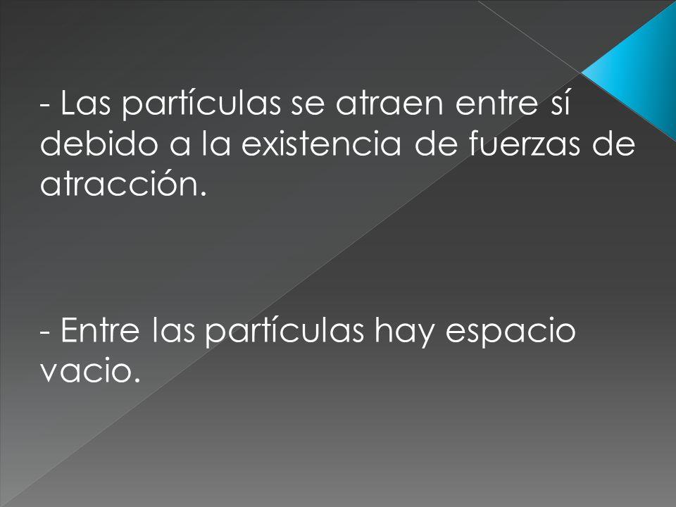 - Las partículas se atraen entre sí debido a la existencia de fuerzas de atracción. - Entre las partículas hay espacio vacio.
