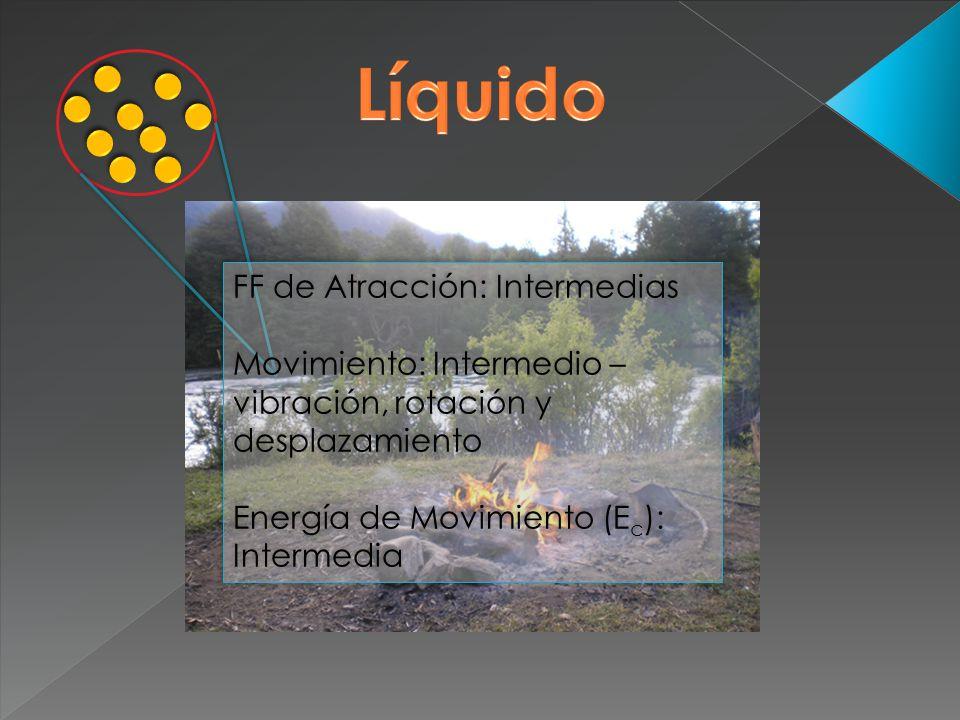 FF de Atracción: Intermedias Movimiento: Intermedio – vibración, rotación y desplazamiento Energía de Movimiento (E c ): Intermedia FF de Atracción: I