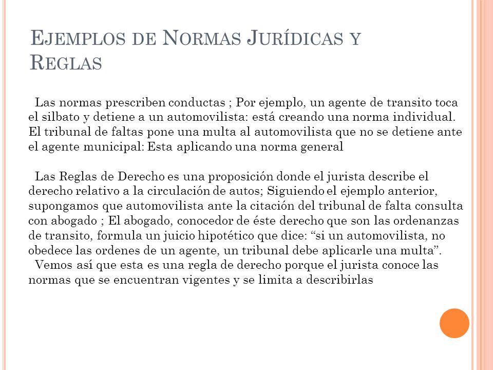E JEMPLOS DE N ORMAS J URÍDICAS Y R EGLAS Las normas prescriben conductas ; Por ejemplo, un agente de transito toca el silbato y detiene a un automovi